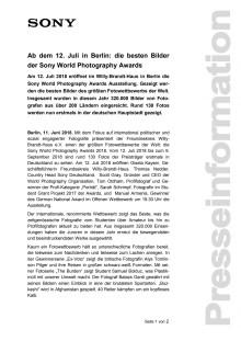 Ab dem 12. Juli in Berlin: die besten Bilder der Sony World Photography Awards