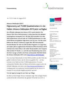 Digiconomy auf 75.000 Quadratmetern in vier Hallen: dmexco Hallenplan 2015 jetzt verfügbar
