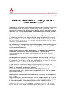 Mitsubishi Ralliart Evolution Challenge Sweden - rapport från deltävling 7