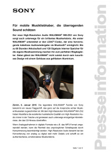 Medienmitteilung_CES 2015_Walkman ZX2_D-CH_150106