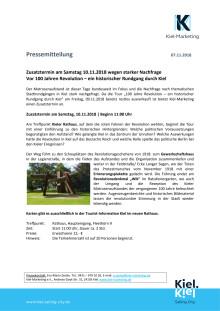 Zusatztermin zur Stadtführung Matrosenaufstand in Kiel am Samstag, 10.11.2018