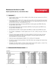 Norwegian Q4 2012 Report