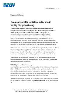 Öresundskrafts intäktsram för elnät färdig för granskning