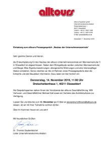 """Reminder: Einladung zum alltours Pressegespräch """"Neubau Unternehmenszentrale"""""""