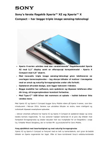 Xperia™ XZ og Xperia™ X Compact_Tekniske specifikationer