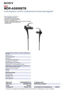Datenblatt MDR-AS800BTB von Sony