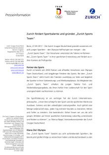 """Zurich fördert Sporttalente und gründet """"Zurich Sports Team"""""""