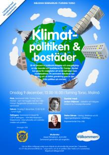 Klimatpolitiken & bostäder - inbjudan seminarium i Turning Torso - Malmö