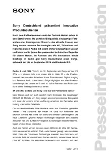 Sony Deutschland präsentiert innovative Produktneuheiten
