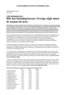 Unik kartläggning visar: Här har bostadspriserna i Sverige stigit minst de senaste tio åren