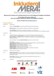Program för konferensen Inkludera mera i Eskilstuna den 23 oktober