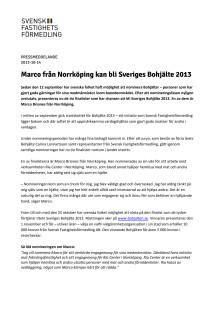 Marco från Norrköping kan bli Sveriges Bohjälte 2013