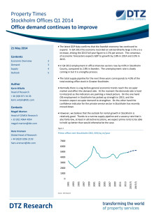 Property Times Stockholm Office Q1 2014 - Office demand continues to improve