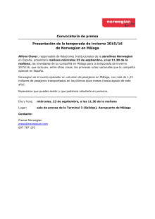 Norwegian Air: convocatoria de prensa en Málaga, miércoles 23 de septiembre, 11.30 de la mañana.