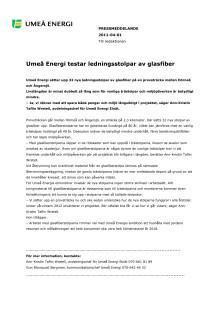 Umeå Energi testar ledningsstolpar av glasfiber