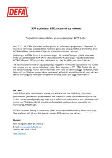 DEFA expanderar till Europas största marknad
