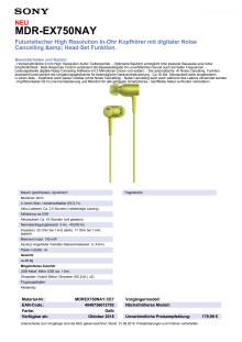 Datenblatt h.ear in von Sony_gelb