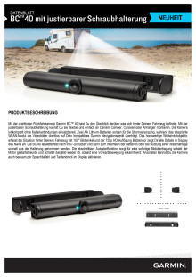 Datenblatt Garmin BC40 Rückfahrkamera mit Schraubhalterung