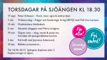 Torsdagar på Sjöängen genomförs som planerat under hösten 2020 – självklart utifrån myndigheters rekommendationer