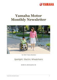 Yamaha Motor Monthly Newsletter No.10(Oct.2013) Electric Wheelchairs