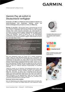 Garmin Pay ab sofort in Deutschland verfügbar