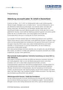 Ablenkung verursacht jeden 10. Unfall in Deutschland