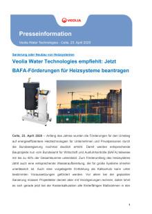 Veolia Water Technologies empfiehlt: Jetzt BAFA-Förderungen für Heizsysteme beantragen