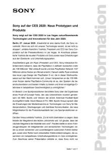 Sony auf der CES 2020: Neue Prototypen und Produkte