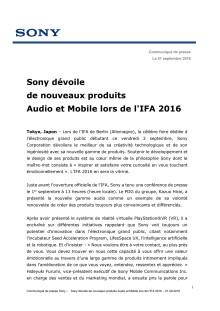 Sony dévoile de nouveaux produits Audio et Mobile lors de l'IFA 2016