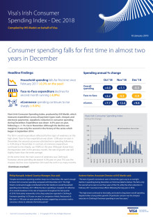 Irish consumer spending falls for first time in almost two years in December