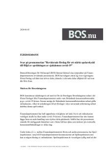 Dokument: BOS remissvar på regeringens reviderade förslag till spelförordning