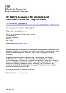 RAC response to CCAV consultation on the testing ecosystem for connected and autonomous vehicles