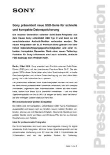 Sony präsentiert neue SSD-Serie für schnelle und kompakte Datenspeicherung
