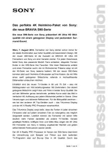 """Pressemitteilung """"Das perfekte 4K Heimkino-Paket von Sony: die neue BRAVIA S90-Serie"""""""
