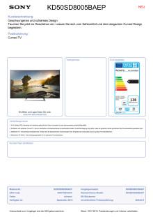 Datenblatt BRAVIA KD-50SD8005BAEP von Sony