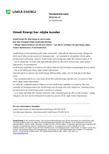 Umeå Energi har nöjda kunder