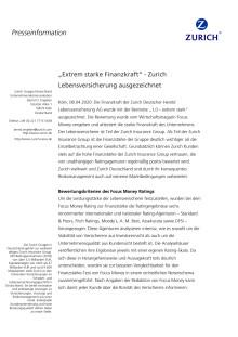 """""""Extrem starke Finanzkraft"""" - Zurich Lebensversicherung ausgezeichnet"""