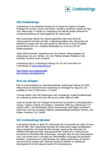 Pressinformation om Livebookings