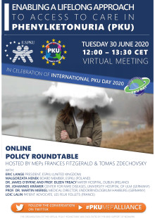Ankündigunsposter Roundtable - EP Cross Party Alliance on PKU