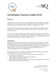 Introduktion till Utmärkelsen Svensk Kvalitet