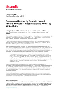 """Downtown Camper by Scandic named """"Year's Forward – Most Innovative Hotel"""" by White Guide"""