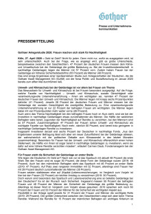 Gothaer Anlegerstudie 2020: Frauen machen sich stark für Nachhaltigkeit