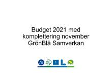 GrönBlå Samverkans budgetförslag för 2021 med komplettering i sammandrag
