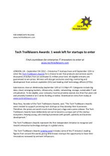 Tech Trailblazers Awards: 1 week left for startups to enter