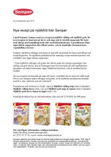 Nya recept på mjölkfritt från Semper