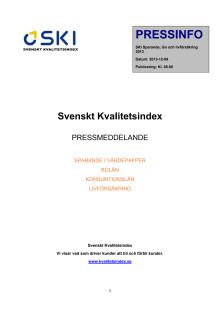 Svenskt Kvalitetsindex om lån, sparande och livförsäkring 2013