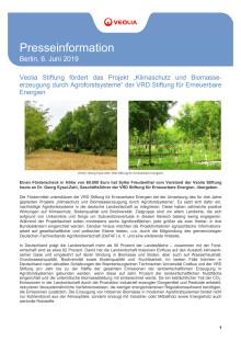 """Veolia Stiftung fördert das Projekt """"Klimaschutz und Biomasseerzeugung durch Agroforstsysteme"""" der VRD Stiftung für Erneuerbare Energien"""