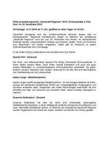 Dritte Ausstellungswoche Handcraft regional Vernissage am 14.11. um 17:00 Uhr