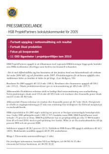 HSB ProjektPartners bokslutskommuniké för 2005