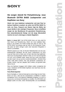 Sie sorgen überall für Partystimmung: neue Bluetooth EXTRA BASS Lautsprecher und Kopfhörer von Sony